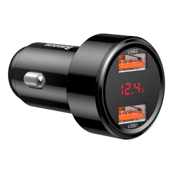 Baseus Magic Series Szybka ładowarka samochodowa USB + USB 2x Quick Charge 3.0 Huawei 5A 45W czarny